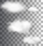 Set Fluffy Transparent Clouds Stock Images