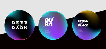 Set of Fluid Dark Shapes with Bright Colors. Trendy Futuristic D. Esign. Placeholders for DJ Poster, Social Media Banner, Pop-Up Stock Image