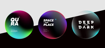 Set of Fluid Dark Shapes with Bright Colors. Trendy Futuristic D. Esign. Placeholders for DJ Poster, Social Media Banner, Pop-Up Royalty Free Stock Photos