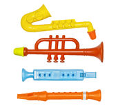 Set of flutes, toys for children Royalty Free Stock Photography