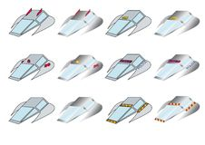 Set of fly cars. Set of twelve fly cars vector illustration