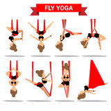 Set of Fly Yoga positions design Stock Photography