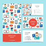 Set of flyer, brochure and business cards for foreign language courses and schools. Set of promotional products. Flat design. Vect Stock Images