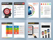 Set of Flyer, Brochure Design Templates. Online Services Infographic and statistic Concept Royalty Free Stock Photos