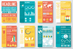 Set of flyer and brochure of flat infographics and Royalty Free Stock Photo