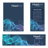 Set flyer, brochure size A4 template,banner. Molecular structure with connected lines and dots. Scientific pattern atom Royalty Free Stock Photo