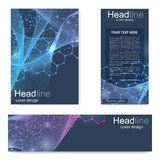Set flyer, brochure size A4 template,banner. Molecular structure with connected lines and dots. Scientific pattern atom. DNA with elements for magazine, leaflet royalty free illustration