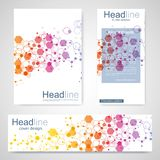 Set flyer, brochure size A4 template,banner. Molecular structure with connected lines and dots. Scientific pattern atom. DNA with elements for magazine, leaflet vector illustration