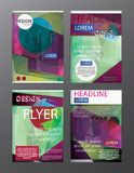 Set Flyer Design Abstract Polygonal. Business Template for Flyer. Banner Stock Image