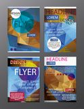 Set Flyer Design Abstract Polygonal. Business Template for Flyer. Banner Royalty Free Stock Photo