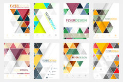 Set of flyer design with geometric pattern. Corporate banner or brochure in A4 size. Stock Photo