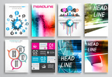 Set of Flyer Design, Web Templates. Brochure Designs, Infographics Backgrounds royalty free illustration