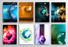 Set of Flyer Design, Web Templates. Brochure Designs, Technology Backgrounds Royalty Free Stock Photography