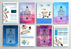 Set of Flyer Design, Web Templates. Brochure Designs, Technology Backgrounds. Royalty Free Stock Photography