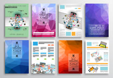 Set of Flyer Design, Web Templates. Brochure Designs, Technology Backgrounds. Mobile Technologies, Infographic  ans statistic Concepts and Applications covers Royalty Free Stock Images