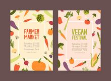 Set of flyer or invitation templates for farmer market and vegan food festival with frames made of fresh ripe vegetables Royalty Free Illustration