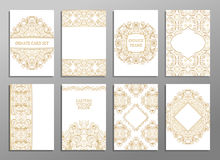 Set of flyer pages ornamental illustration stylized gold concept. Stock Image