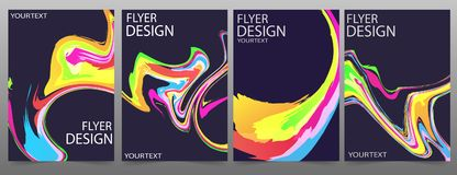 Set of 4 flyer template or corporate banner design with colorful waves on a dark background. Can be use for publishing, print and presentation. Vector. Eps 10 vector illustration