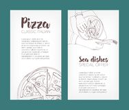Set of flyer templates with contour drawings of classical pizza and grilled salmon steak on plates and place for text Stock Image