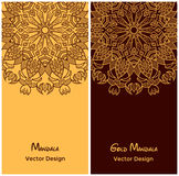 Set of flyer templates with ethnic pattern. East circular ornament Royalty Free Stock Photos
