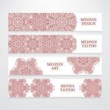 Set of flyer templates mehndi design Stock Photos