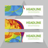 Set of flyers with abstract background. Brazil gold medal event. Stock Photography