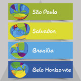 Set of flyers with abstract background. Brazil gold medal event. Stock Images