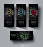 A set of flyers and banners for night club party. Eyes with scratches on a black background. Rollup advertising for electronic music festival Stock Image