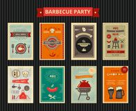 Set of flyers for barbecue party. Set of flyers cards for barbecue party event stock illustration