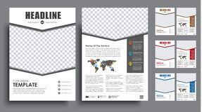 Set flyers brochure A4 with empty space for photo. Set the size of A4 flyer. brochure template in 4 color options with the arrow for for photos. Vector Royalty Free Stock Photography