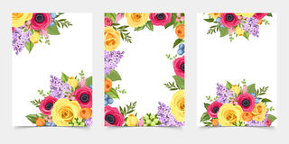Set of flyers with colorful flowers. Vector illustration. Stock Image