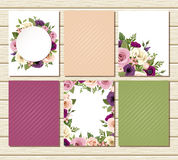Set of flyers with colorful roses and lisianthus flowers. Vector illustration. Stock Image