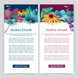 Set flyers with floral decor. Vertical banners with place for your text. Upper frame with flowers, leaves, twigs and Royalty Free Stock Photography