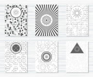 Set of flyers with geometric patterns and hipster icons Stock Images