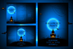 Set of flyers for halloween vector illustration. Stock Photos