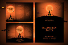 Set of flyers for halloween vector illustration. Royalty Free Stock Images