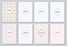Set of flyers, posters, banners, placards, brochure design templates A6 size. Graphic design templates for logo, labels and badges. Abstract geometric Royalty Free Stock Photography