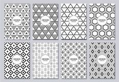 Set of flyers, posters, banners, placards, brochure design templates A6 size. Graphic design templates for logo, labels and badges. Abstract geometric Stock Photography