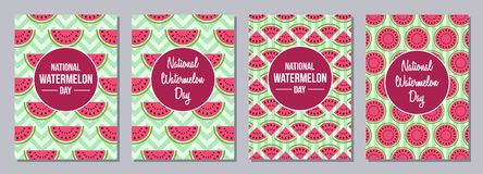 Watermelon Day flyers. royalty free illustration