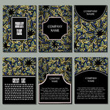 Set of flyers, templates design. Set of flyers, brochures, templates design. Cards with mandala patterns and ornaments Stock Photo