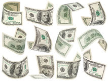 Set of flying 100 dollars banknotes Royalty Free Stock Photography