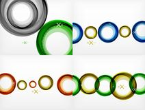 Set of flying abstract circles backdrops, vector geometric backgrounds, color air bubbles, web banner templates. Business or technology presentation stock illustration