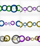 Set of flying abstract circles backdrops, vector geometric backgrounds, color air bubbles, web banner templates. Business or technology presentation royalty free illustration