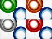 Set of flying abstract circles backdrops, vector geometric backgrounds, color air bubbles, web banner templates. Business or technology presentation Royalty Free Stock Photography