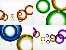 Set of flying abstract circles backdrops, vector geometric backgrounds, color air bubbles, web banner templates. Business or technology presentation Stock Image