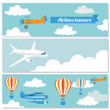 Set of flying airplanes banners for your text. Stock Photography