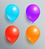 Set Flying Balloons of Blue Purple Red and Orange. Set of flying balloons of blue purple red and orange color realistic design vector isolated on transparency Stock Photo