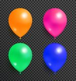 Set Flying Balloons of Orange Pink Green and Blue. Set of flying balloons of orange pink green and blue color realistic design vector isolated on transparent Royalty Free Stock Photography
