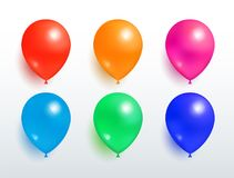 Set of Flying Balloons Red Orange Pink Blue Green. Set of flying balloons of red orange pink blue green color realistic design vector isolated on white. Balloon Royalty Free Stock Photo