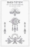 Set of Flying Bird Logo design, geometric tribal archaic emblems Stock Images